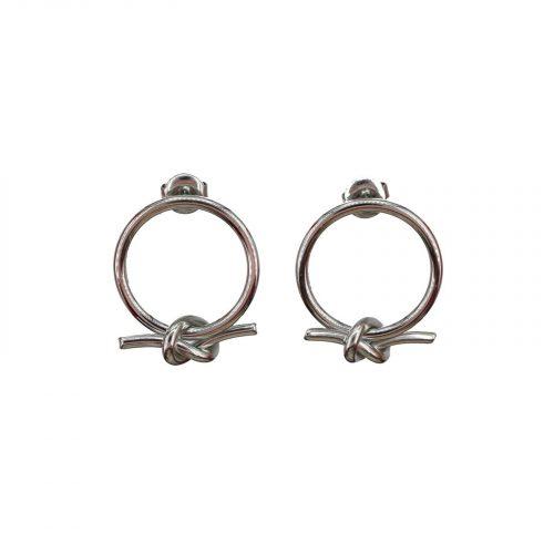 Boucles d'oreilles cercle et nœud argenté