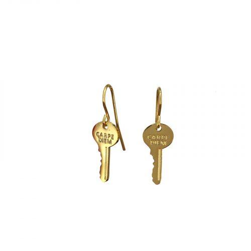 Boucles d'oreilles clé dorées