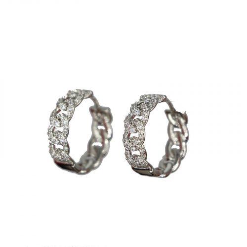 Boucles oreilles anneaux entrelacé argenté et strass