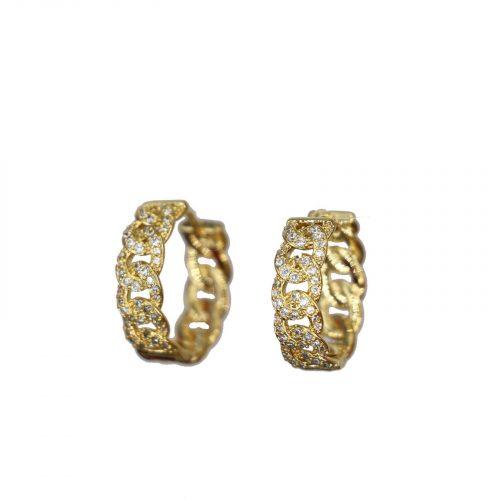 boucles oreilles anneaux entrelacés doré et strass