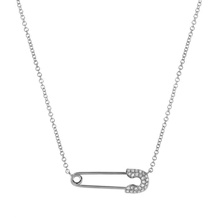 collier pendentif épingle à nourrice argenté et strass