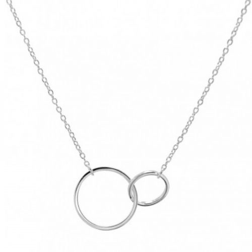 Collier Elyne chaine petit et grand anneaux entrelacés argenté