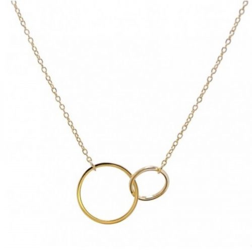Collier Elyne chaine petit et grand anneaux entrelacés dorés