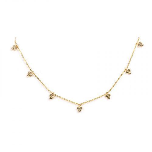 collier pendentif trois boules dorées Hazanellie