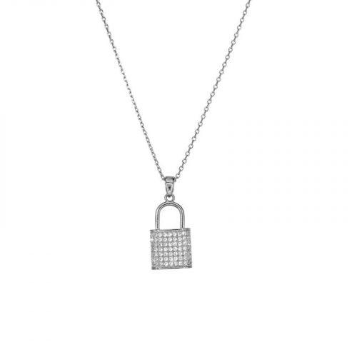 collier cadenas strassé argenté chainette Hazanellie