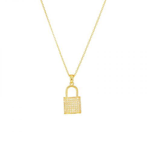 collier cadenas strassé chainette doré Hazanellie