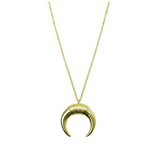 collier pendentif croissant doré Hazanellie