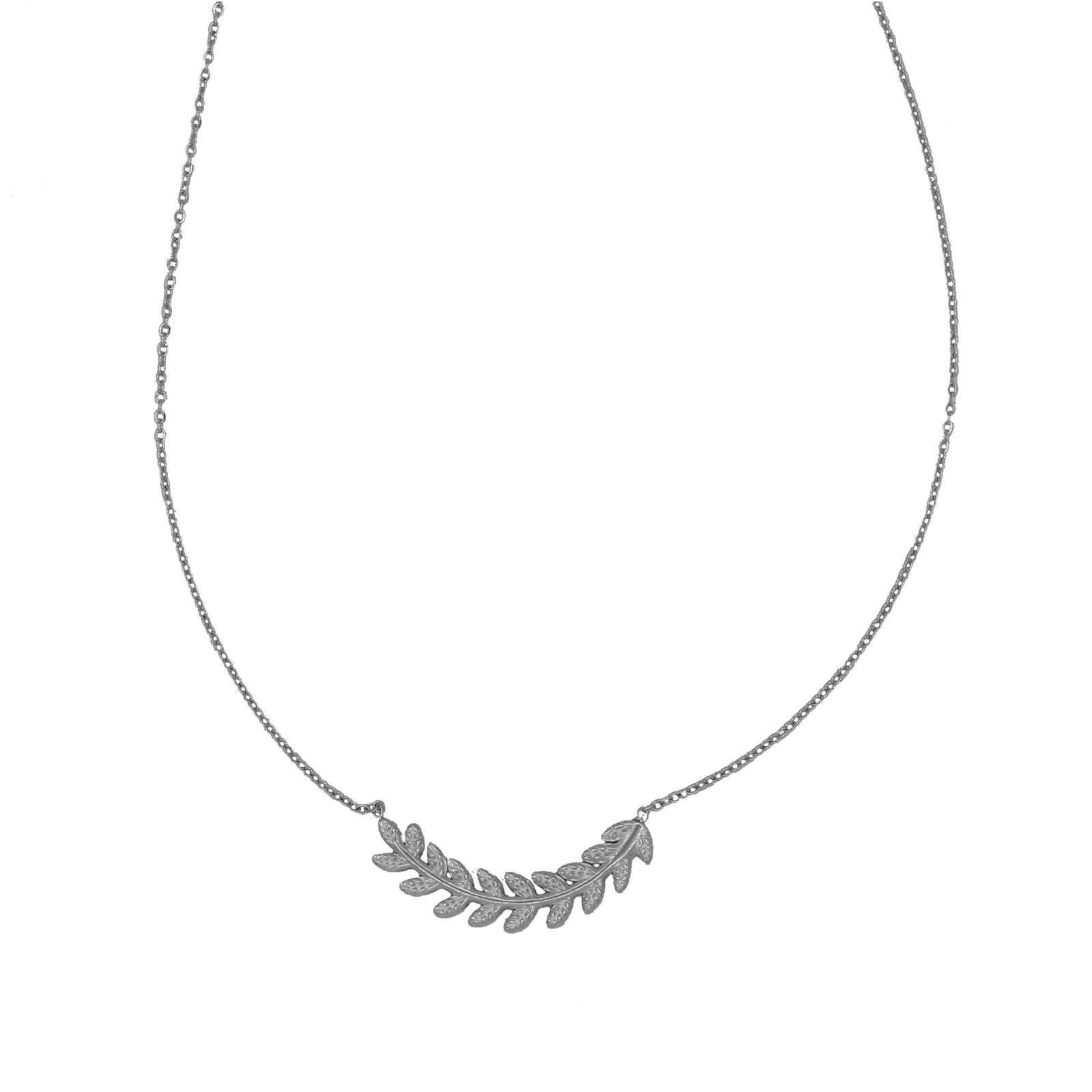 collier chainette feuille argenté Hazanellie