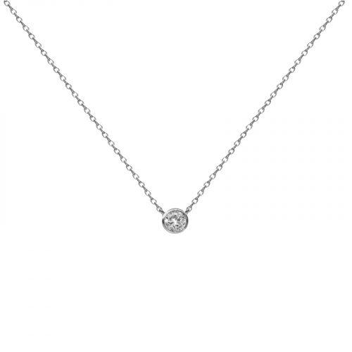 collier pendentif un strass argenté Hazanellie