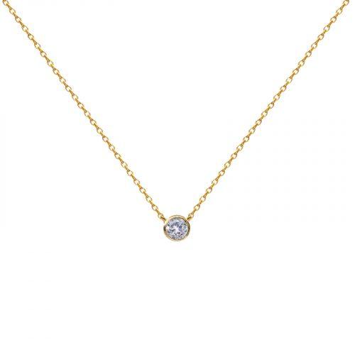 collier pendentif un strass doré chainette Hazanellie