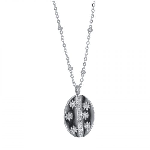 collier pendentif soleil strass argenté Hazanellie