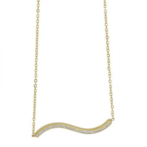 collier chaine et vague strassé doré Hazanellie