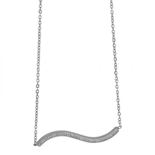 collier chaine et vague strassé argenté Hazanellie