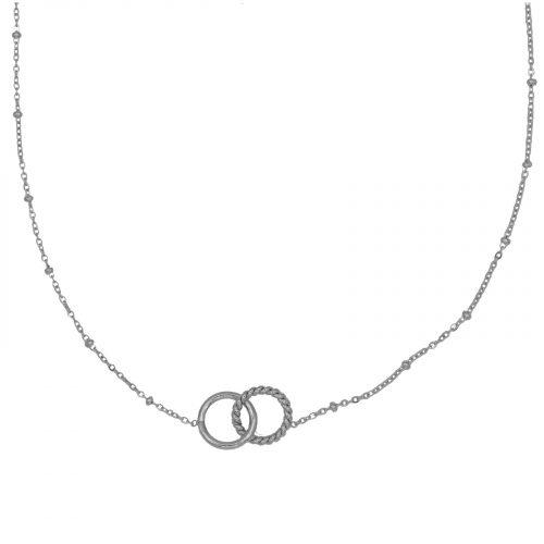 collier cercles entrelaces chainette argenté Hazanellie