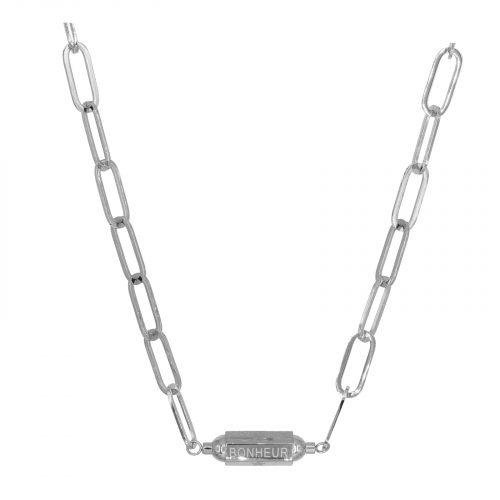 collier pendentif grosse chaine bonheur argenté Hazanellie