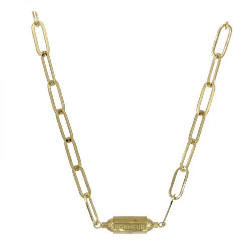 collier grosse chaine bonheur doré Hazanellie