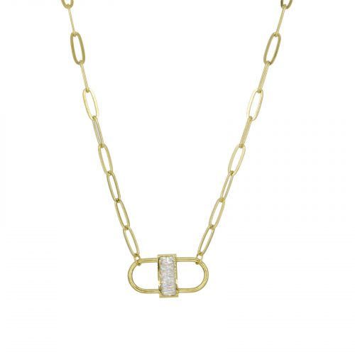 collier double cadenas doré strass Hazanellie