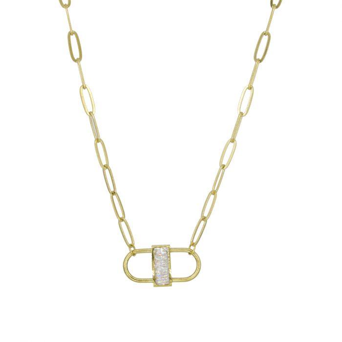 collier double cadenas doré strass Hazanellie