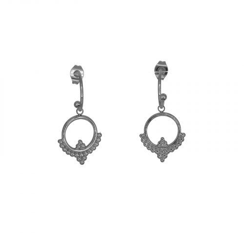 boucles d'oreilles mini créole et pendentif argenté