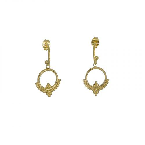 boucles d'oreilles mini créole et pendentif doré