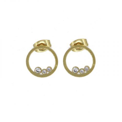 boucles d'oreilles trois strass doré