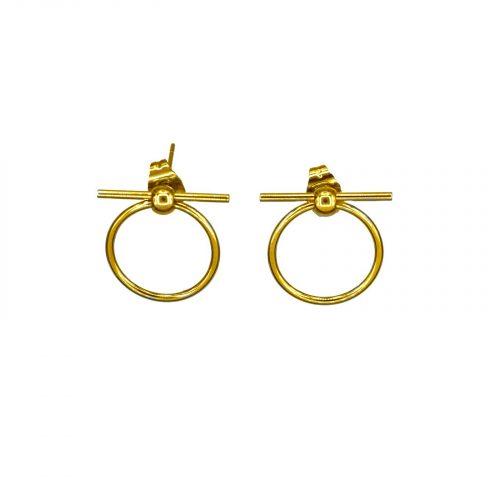 boucles d'oreilles cercle et barre doré