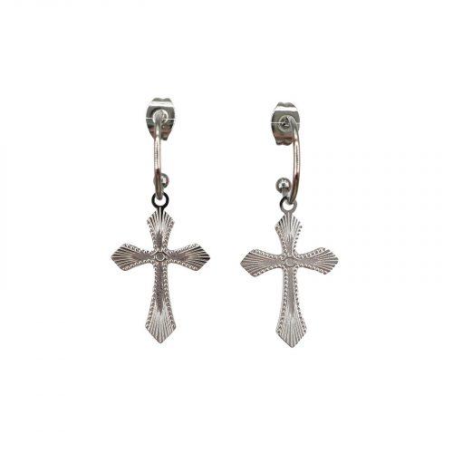 boucles d'oreilles Célestine croix argenté