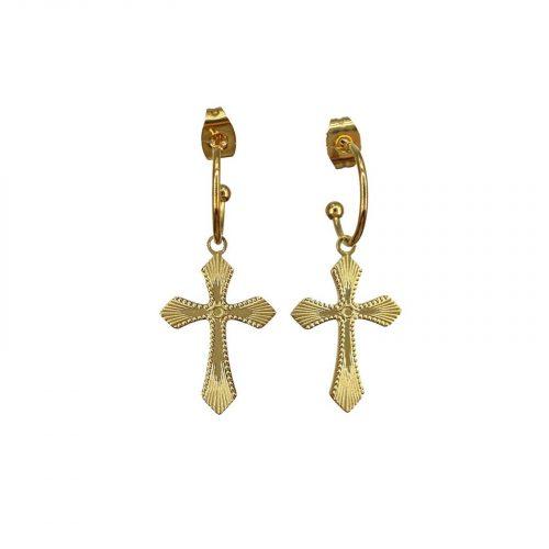 boucles d'oreilles Celestine croix doré Hazanellie