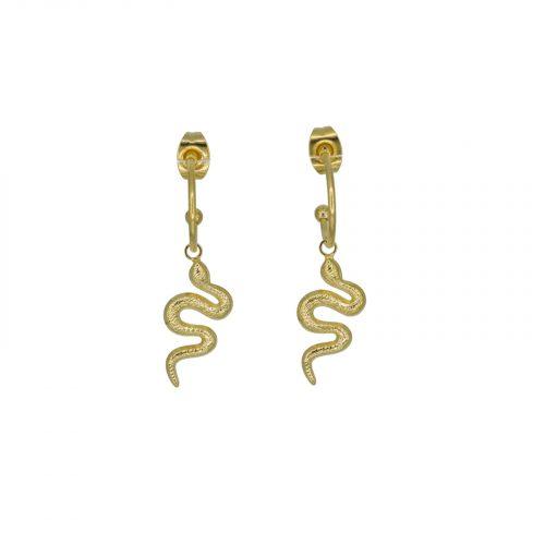 boucles d'oreilles serpent doré