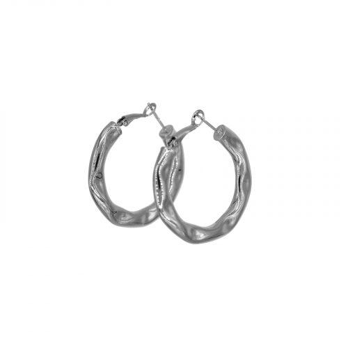 boucles d'oreilles mini créole froissé argenté