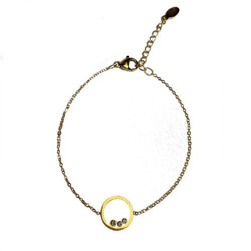 Bracelet chaine et cercle 3 strass doré Hazanellie