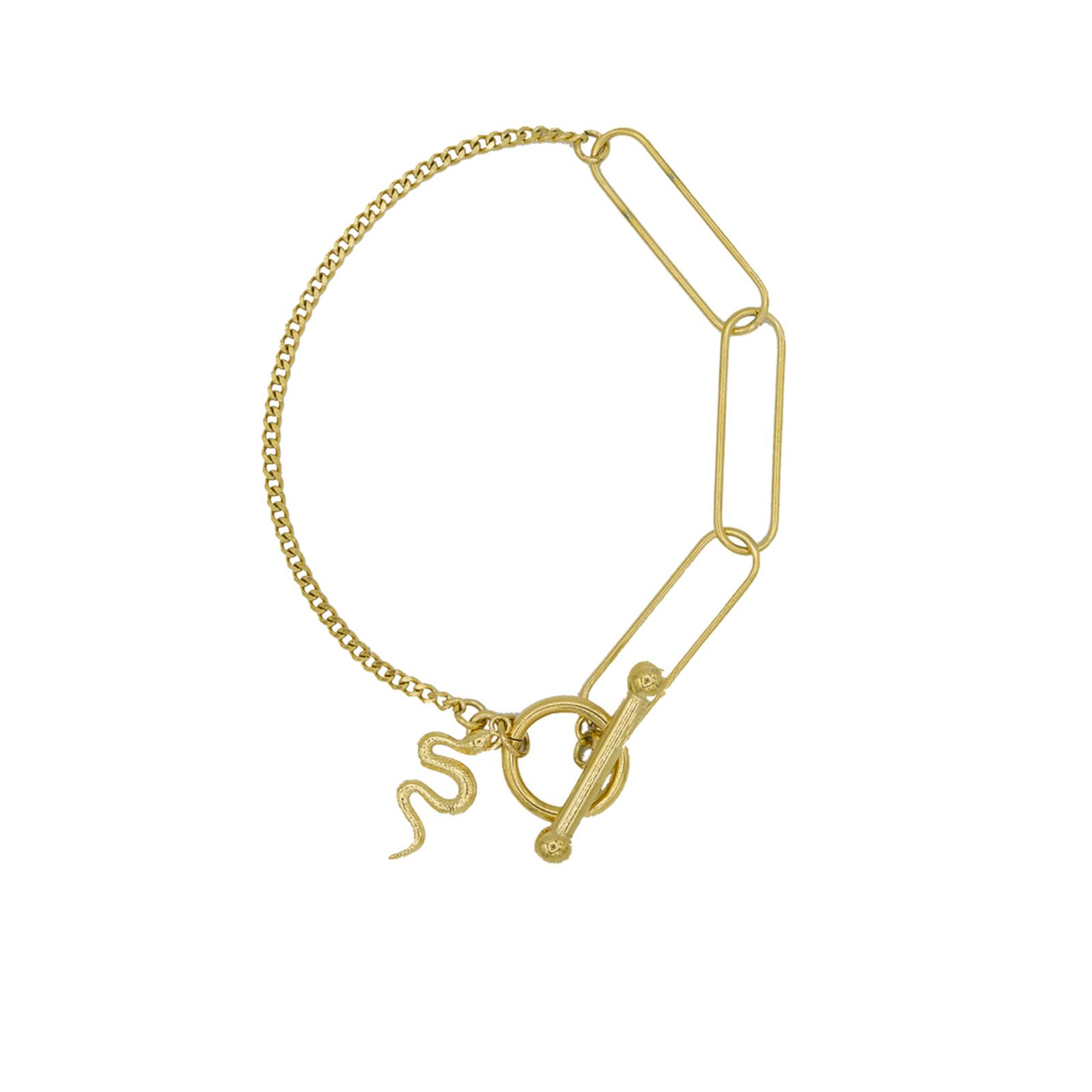 Bracelet chaine et trombone serpent et barre doré Hazanellie