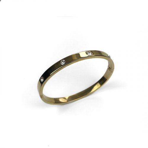 Bracelet jonc doré et strass Hazanellie