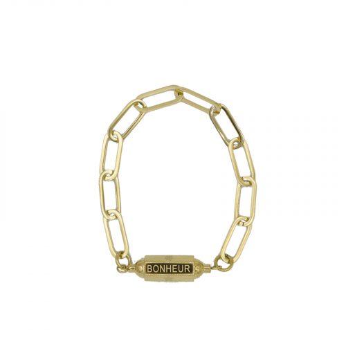 Bracelet chaine doré Bonheur Hazanellie