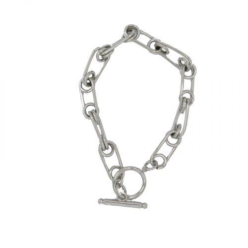 Bracelet grosse chaine fermeture barre argenté Hazanellie