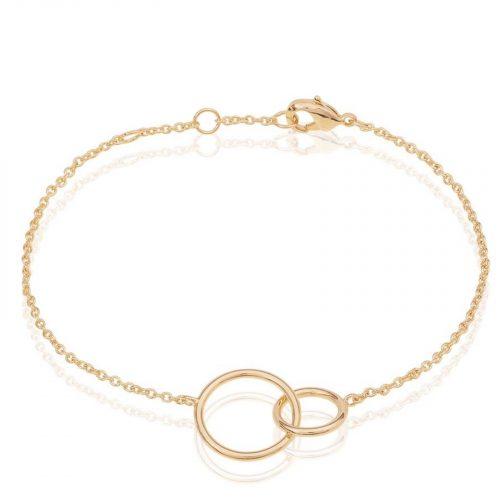 Bracelet chainette cercles enlacés doré Hazanellie