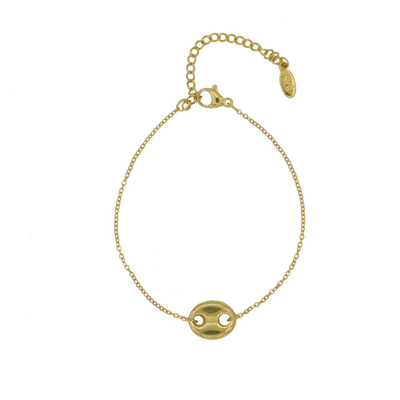 Bracelet chainette fantaisie grain de café doré Hazanellie