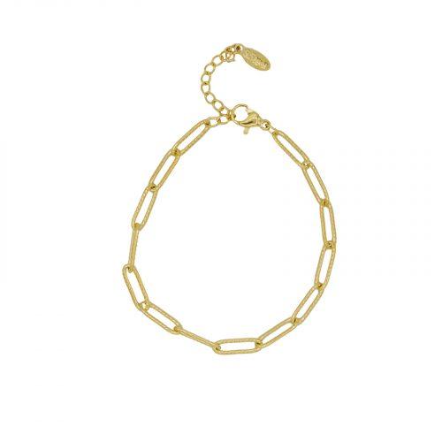 Bracelet grande maille doré Hazanellie