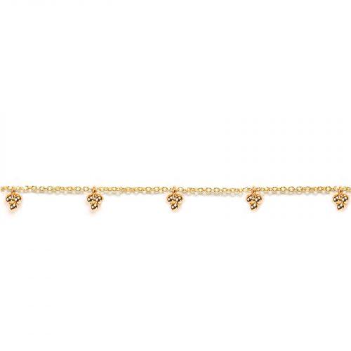 Bracelet chainette et breloques boules doré Hazanellie