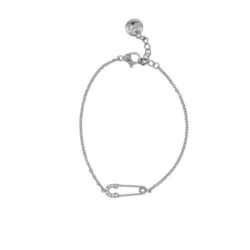 Bracelet épingle à nourrice strassé argent Hazanellie