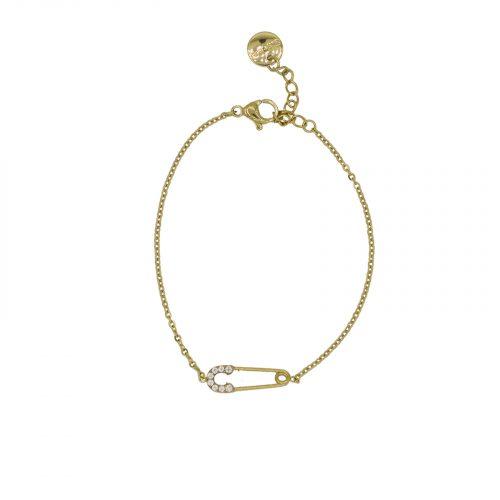 Bracelet épingle à nourrice strassé doré Hazanallie