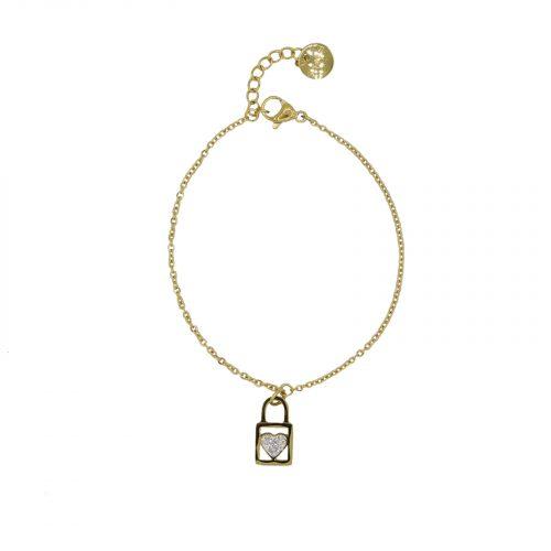 Bracelet Cadena coeur strass doré Hazanelie