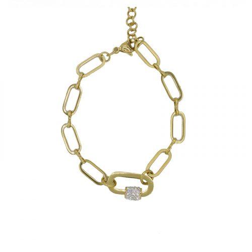 bracelet grosse chaine orale et strass doré Hazanellie