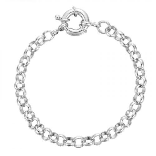 bracelet grosse chaine ronde argenté Hazanellie