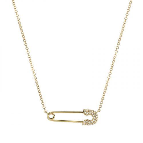 collier Livie pendentif épingle à nourrice doré et strass