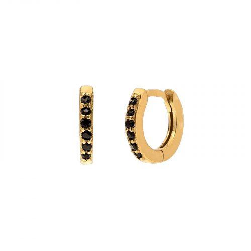 boucle d'oreilleinhala dorée et perles noire hazanellie