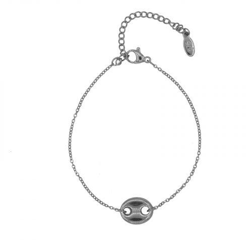 Bracelet chaine argenté grain de café