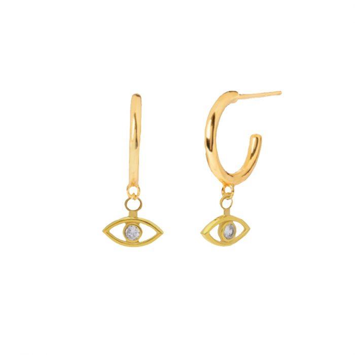boucle d'oreille oeil strass dorée hazanellie